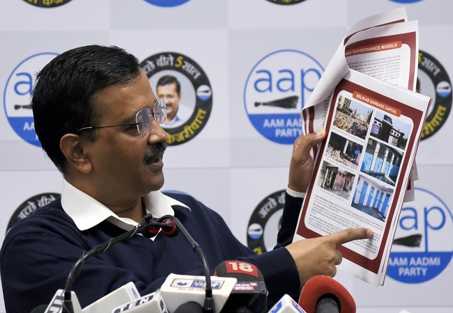 Delhi Chief Minister Arvind Kejriwal addresses a press conference