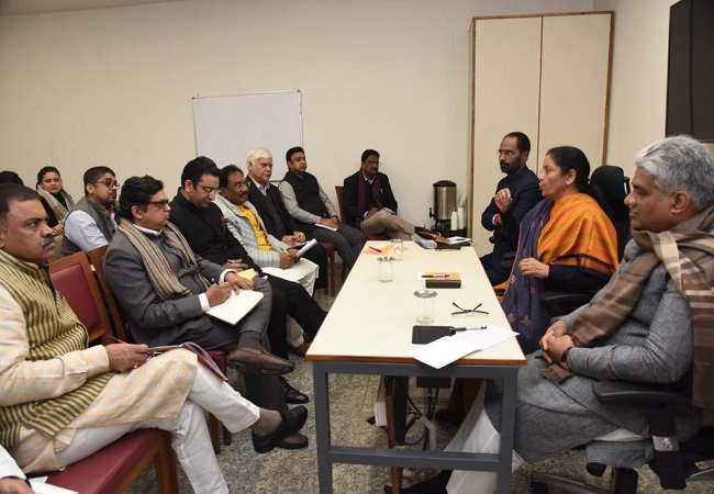Ahead of Union Budget, Sitharaman meets BJP office bearers, spokespersons