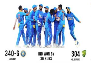 2nd ODI: India beat Australia by 36 runs, level series 1-1