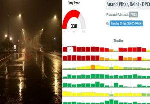 Light showers in Delhi, air quality remains 'very poor'