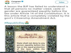 Congress cites Constitution to target BJP over CAA