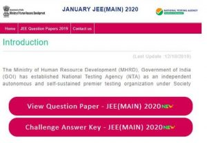 JEE Main Answer Key 2020 and Question Paper released at jeemain.nta.nic.in