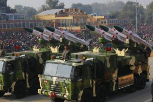 Mechanised infantry and marching columns on Rajpath during Republic Day Parade