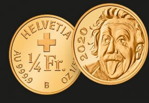 Switzerland mints smallest gold coin featuring cheeky image of Einstein