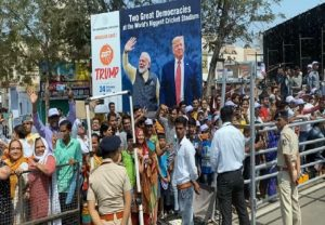 Large crowds cheer Trump-Modi road-show in Ahmedabad