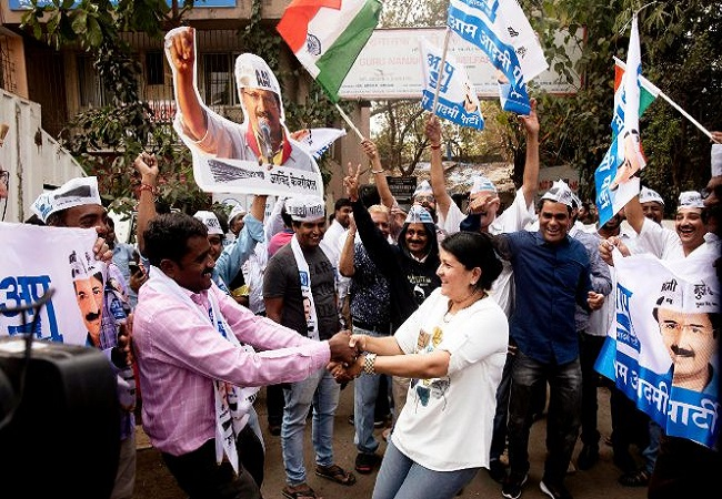 AAP workers celebrate party's victory after big Delhi win