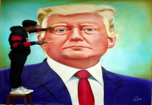 Indian artist makes lifelike portrait of Donald Trump