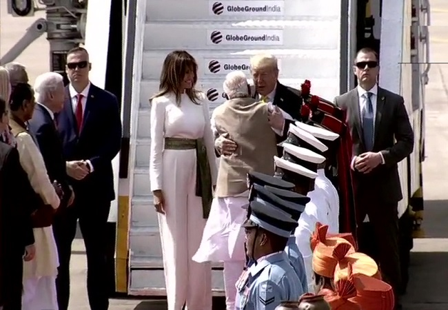 PM Modi welcomes President Trump to India with a hug