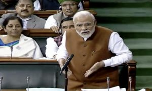 IN PICs: PM Modi's various gestures during reply to Motion of Thanks in LS