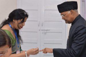 President Ram Nath Kovind and his wife Savita Kovind cast their votes