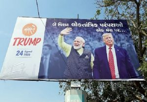 Posters Donald Trump and PM Modi seen in Ahmedabad