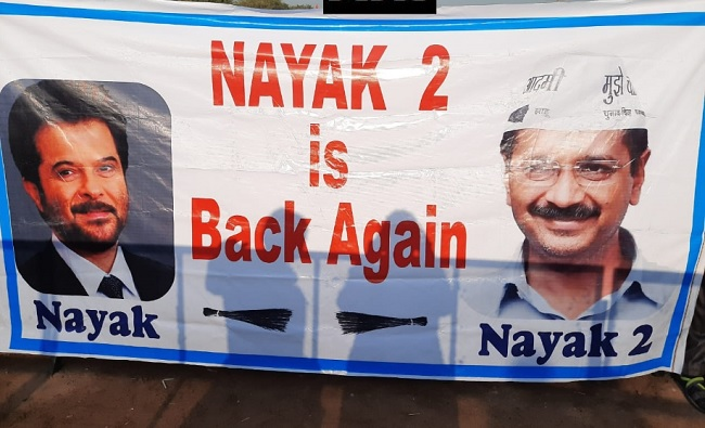 'Nayak 2 is Back Again' – Filmy poster at the venue of Kerjiwal's swearing-in