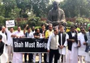 Congress MPs stage protest in Parliament House compound over Delhi violence
