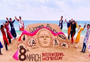 Girl sand artists create beautiful sculpture with message of 'women power' in Odisha, Sudarsan Pattnaik shares image