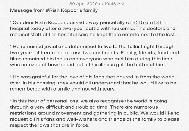 'He would like to be remembered with a smile, not tears': Family issues statement on Rishi Kapoor's death
