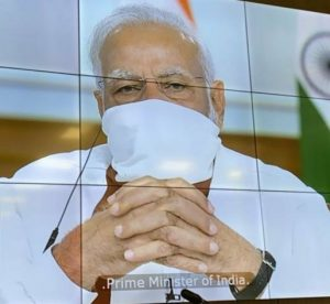 PM Modi wears mask in video conference with CMs | See Pics