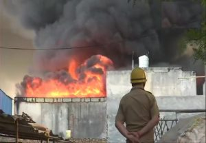 Delhi: Fire breaks out at godown in Tikri border area, 30 fire tenders at spot