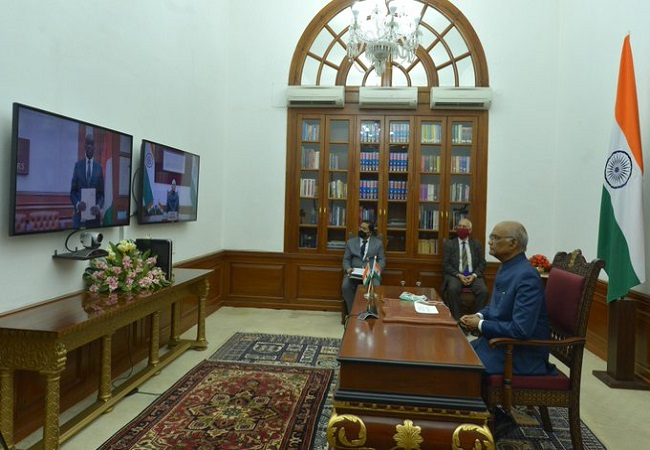 In a first, envoys of 7 nations present credentials to President Kovind via video conference