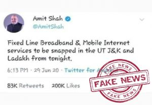 FACT CHECK: Home Minister's tweet of scrapping broadband, mobile services in J-K, Ladakh fake, says MHA