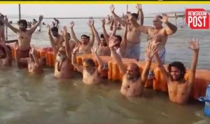 Saints take holy dip on the occasion of Ganga Dussehra