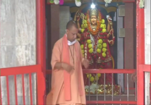 UP Chief Minister Yogi Adityanath offers prayers at Gorakhnath Temple