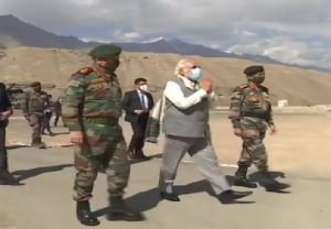 PM Narendra Modi in Ladakh, accompanied by CDS Bipin Rawat and Army chief