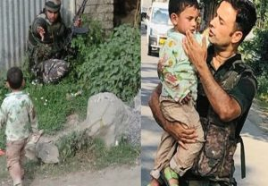 J&K Police rescue 3-year-old boy crying over body of his grandfather killed in cross-firing, heart-melting pics go viral