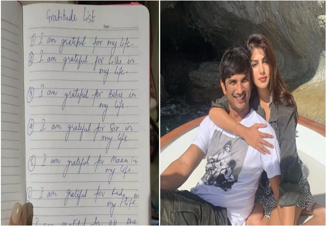 "Rhea Chakraborty shares Sushant's handwritten ""gratitude note"", says 'Only property of Sushant I have'"