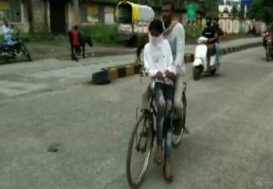 """""""Ruk Jana Nahin"""" scheme: MP man pedals bicycle for 105 km to take son to exam centre"""