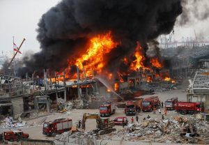 Weeks after powerful blast, massive fire breaks out at Beirut port