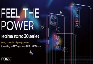 Realme confirms Narzo 20 series launch in India on September 21