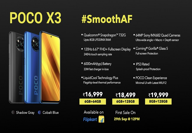 Poco X3 with Snapdragon 732G, 6,000mAh battery launched in India: Check price & specs here