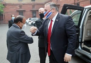 NSA Ajit Doval greets US Secretary of State Michael Pompeo with an elbow bumps; See Pics