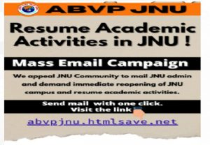ABVP launches email campaign, seeking resumption of academic activities in JNU