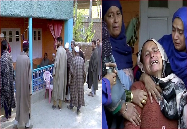J-K: Mortal remains of BJP worker killed brought to his native place in Kulgam