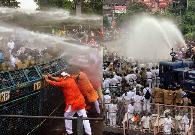 Police use lathi-charge and water cannon to disperse BJP workers during the party's state-wide 'Nabanna Chalo' agitation against the alleged killings of its workers in a state, in Kolkata on Thursday.