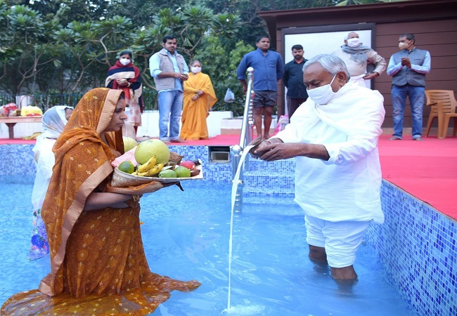 CM Nitish Kumar offers 'Arghya' on last day of Chhath Puja