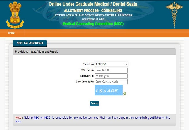 NEET UG Counselling 2020 results declared: Check here