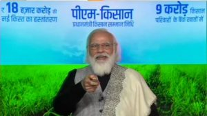 PM Modi interacts with farmers after the release of Rs 18,000 crores as part of PM Kisan Samman Nidhi scheme