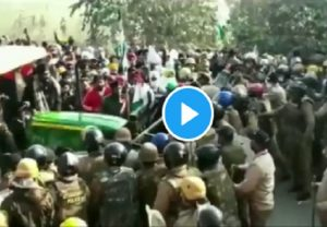 Anti-farm laws protesters run tractor over police barricade in Uttarakhand