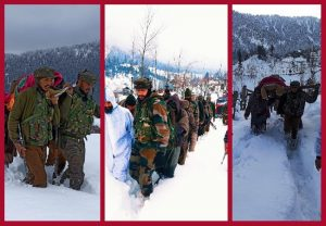 J&K: Army jawans carry pregnant woman to hospital through knee-deep snow