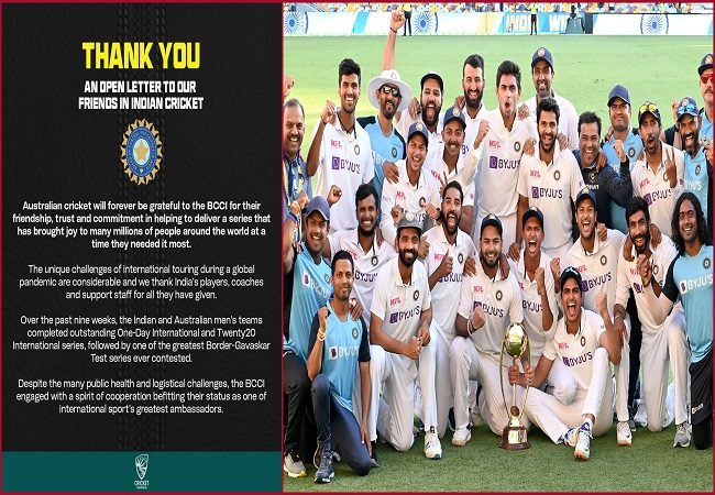 """""""One of the greatest Border-Gavaskar series ever"""": Cricket Australia pens an open letter to the BCCI"""