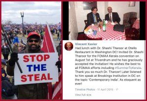 Vincent Xavier- who waved Indian Flag at US Capitol Protest, an alleged supporter of Congress leader Shashi Tharoor