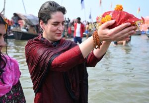 Priyanka Gandhi takes holy dip in Sangam on Mauni Amavasya, performs puja