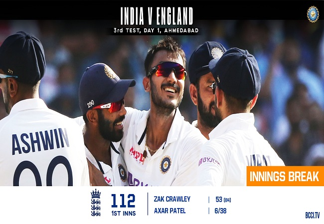 India Vs England: Axar Patel picks 6 wickets, England all out for 112