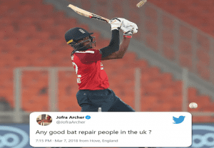 Ind vs Eng: Jofra Archer looks for people to repair his bat in a 3-year-old tweet