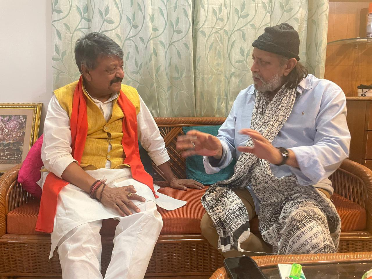 BJP's Kailash Vijayvargiya meets actor Mithun Chakraborty