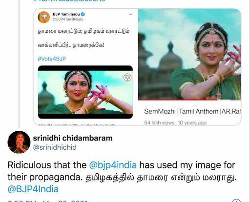 """Ridiculous..."": Karti Chidambaram's wife-Srinidhi on Tamil Nadu BJP poll promotional video"