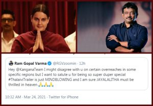 After calling Kangana Ranaut 'Nuclear Bomb,' Ram Gopal Verma praises her for 'Thalaivi'
