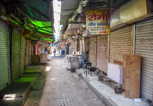 Shops seen closed at Chandni Chowk market amid the rise in Coronavirus cases, in New Delhi